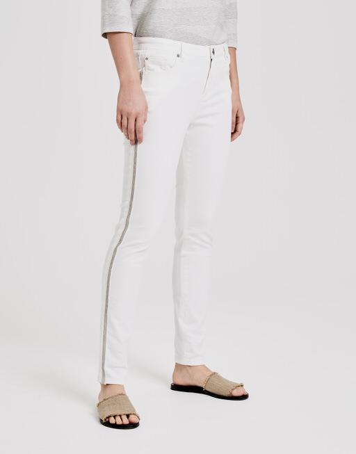 Skinny jeans Evita silver beads milk