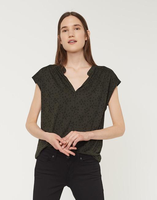 V-hals shirt Sandi flower oliv green