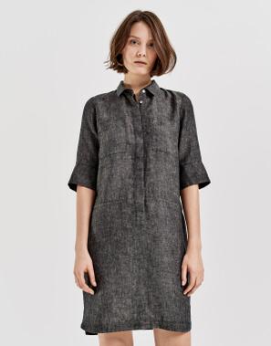 te koop klassieke pasvorm gewoonte Linnen jurk Willmar linen groen online bestellen | OPUS ...