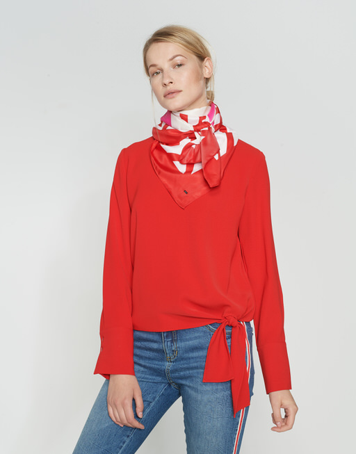Gestreepte sjaal Amate scarf true red