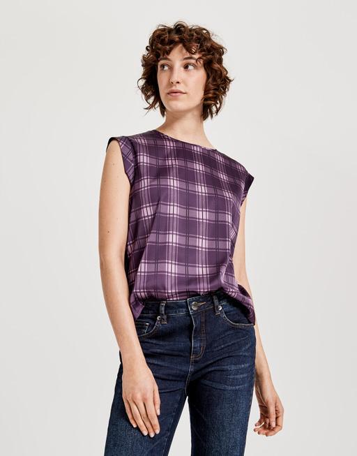 Shirt blouse Fabiole check dark violet