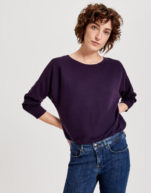 Katoenen trui Pusine dark violet