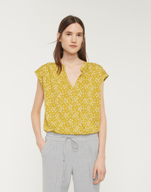 Shirt with V-neck Sandi flower mute mustard