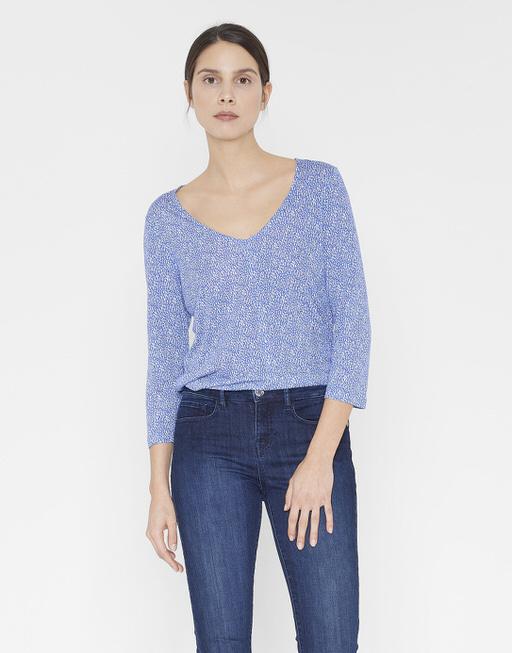 Shirt with V-neck Sammi speckle blue anemone