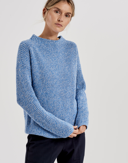 Knitted jumper Parto mouline blue iris