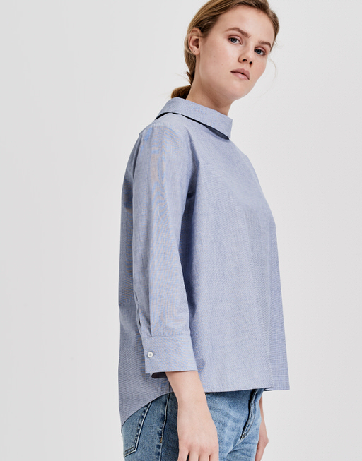 Stehkragenbluse Fanini chambray dream blue