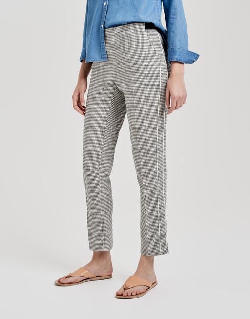 Stoffen broek Edira check simply blue