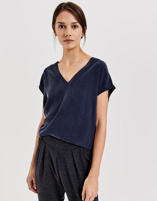 V-hals shirt Silvia simply blue
