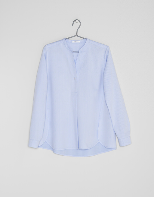 Stehkragenbluse Fleming diagonal HS comfort blue