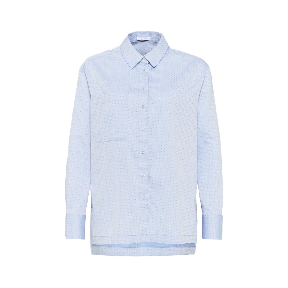 Artikel klicken und genauer betrachten! - Die Bluse aus hochwertiger Baumwolle überzeugt mit einem filigranen Punkte-Muster, das über ein schönes Jacquard gespielt wird. Die Hemdblusen Anmutung wird durch die weite und lange Silhouette erzeugt. In den Seiten ist ein langer Schlitz mit einer Knopfleiste eingearbeitet. | im Online Shop kaufen