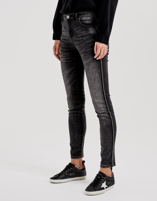 Skinny Jeans Evita black beads dark black