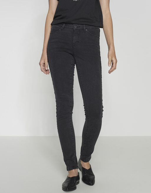 Skinny Jeans Elma velvet stripe black washed