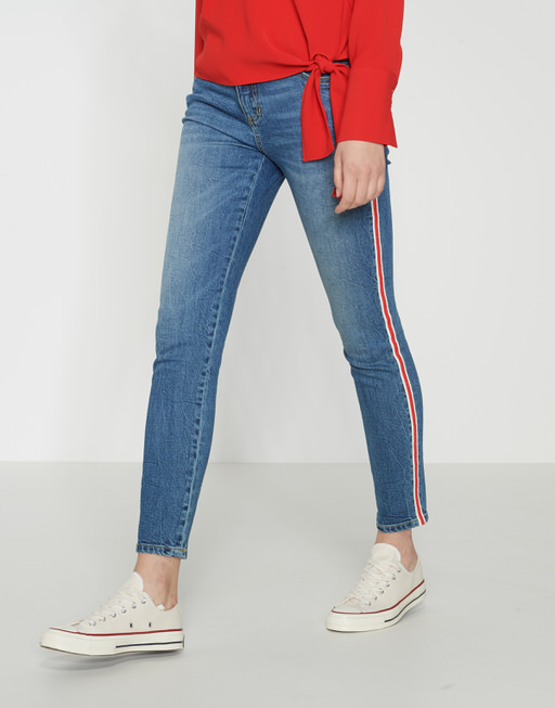 Skinny jeans Ely red stripe light washed blue