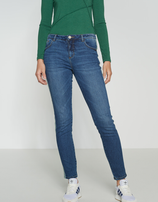 Skinny Jeans Ely green stripe dark washed blue