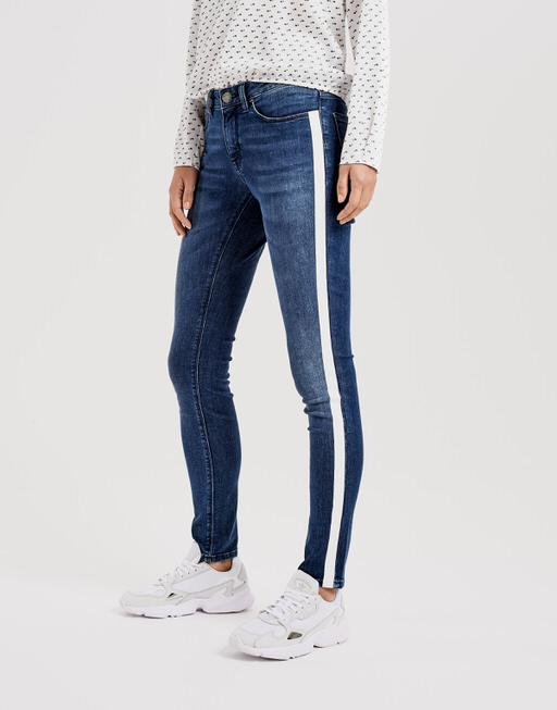 Skinny jeans Elma stripe blue open