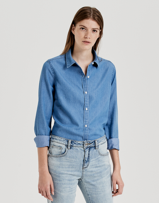 Bluse Fim mid blue washed