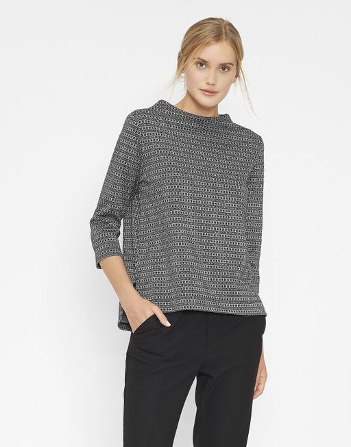Sweatshirt Godeni jacquard slate grey melange