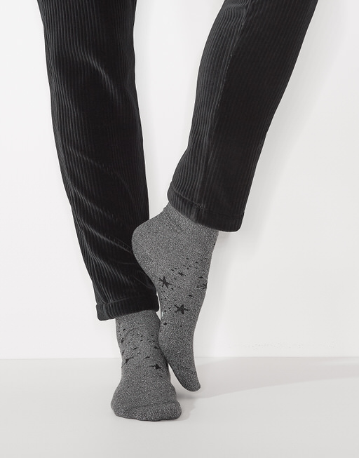 Socke Yastra little star slate grey melange