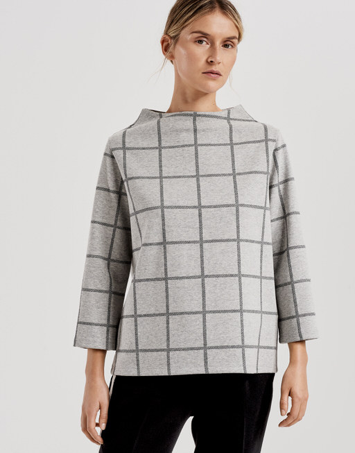 Sweatshirt Galvi big check iron grey melange