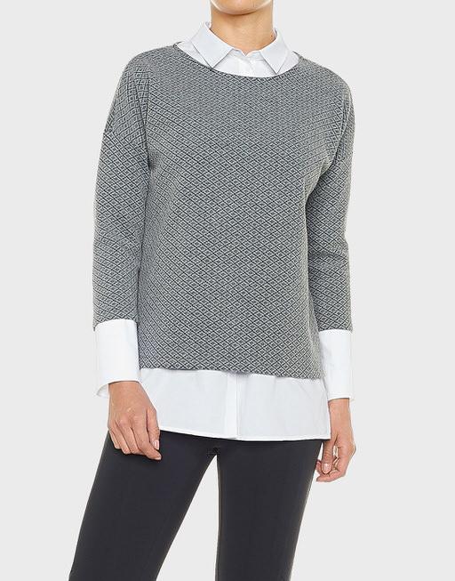 Boxy-Shirt Golda rhomb iron grey melange