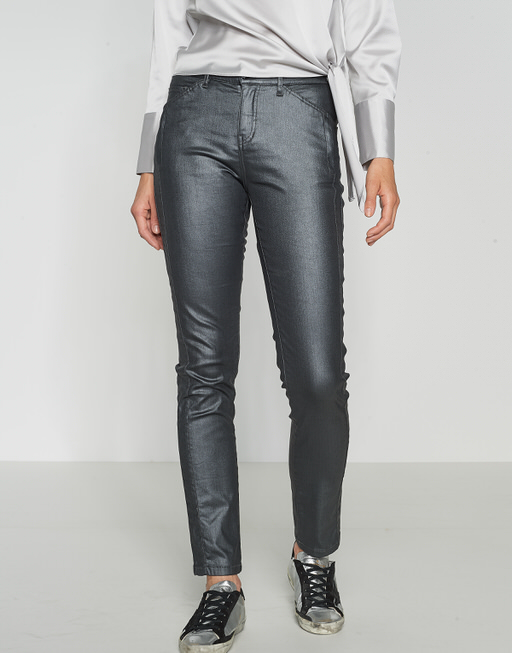 Coated-Jeans Emily metallic iron grey melange