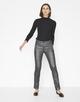Coated-Jeans Emily metallic iron grey melange