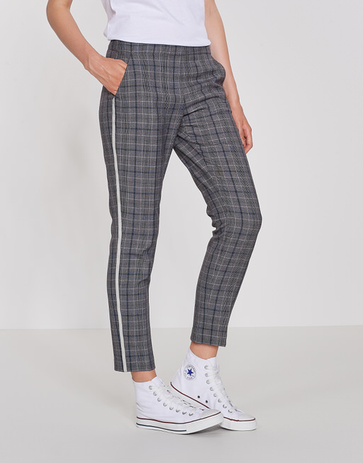 Business Hose Ette wide check iron grey melange