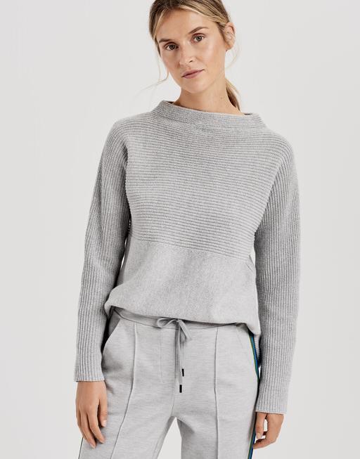 Baumwoll Pullover Panta rib iron grey melange
