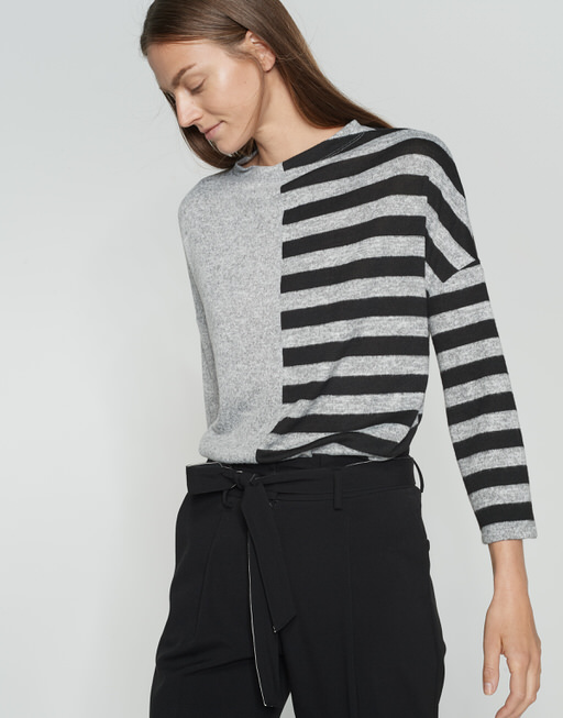 Longsleeve Silwa half stripe iron grey melange