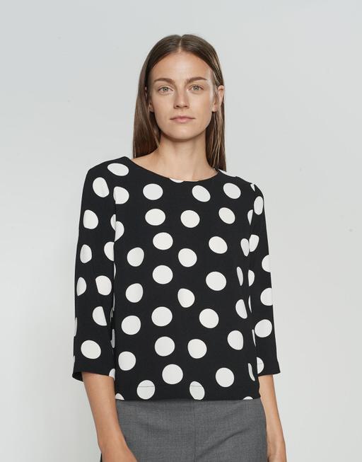 Printbluse Falesha polka dot black