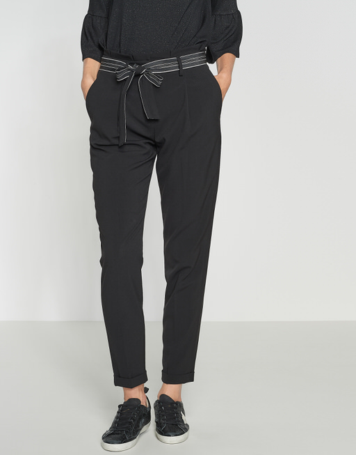 Bundfaltenhose Enchi stripe belt black