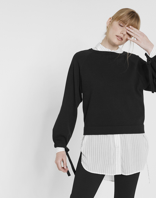 Oversize Pullover Pompon black