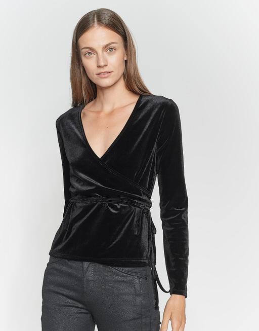 Wrap shirt Sendola velvet black