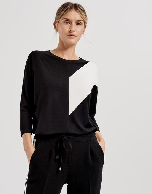Boxy Shirt Siagona print black